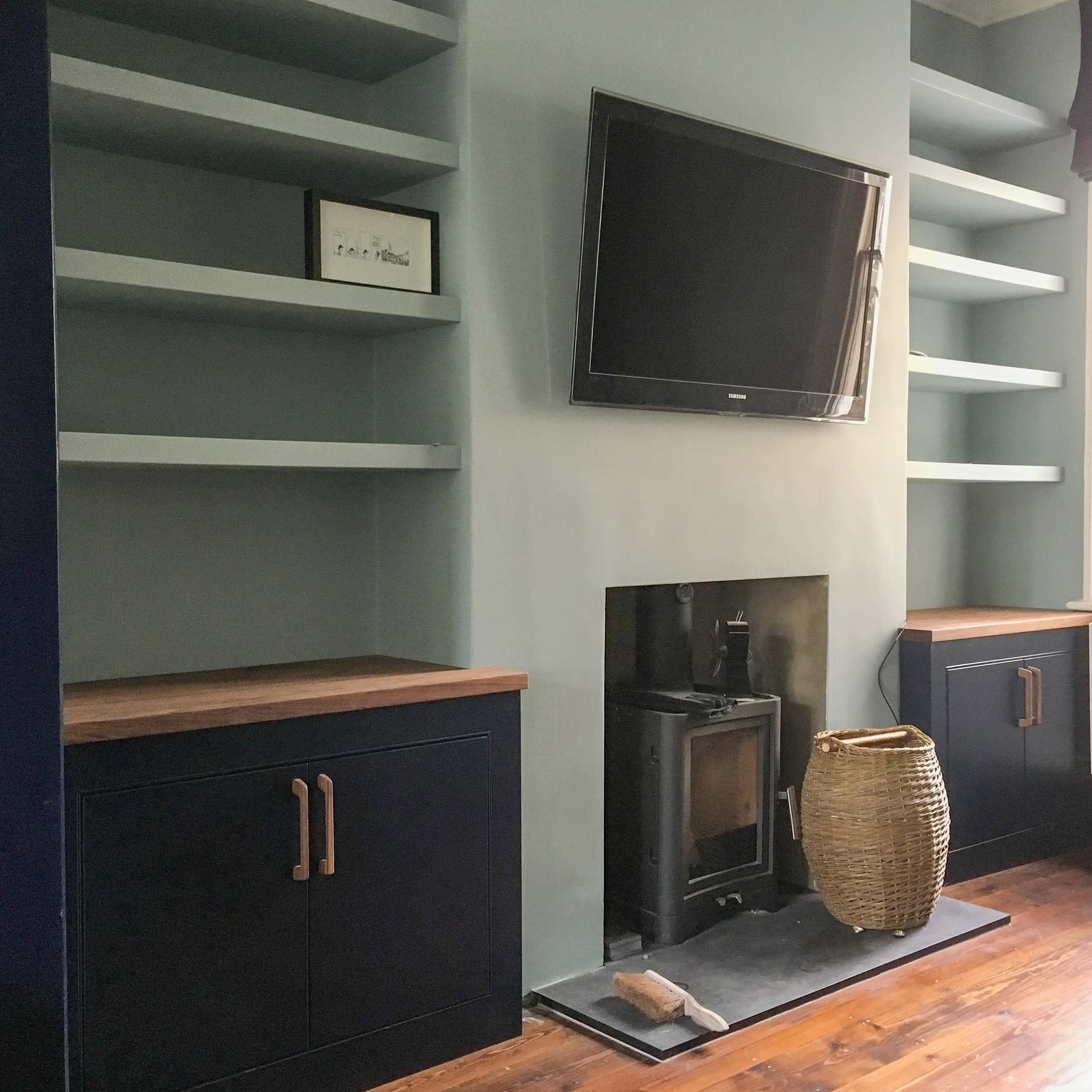 Alcove cabinets and floating shelves