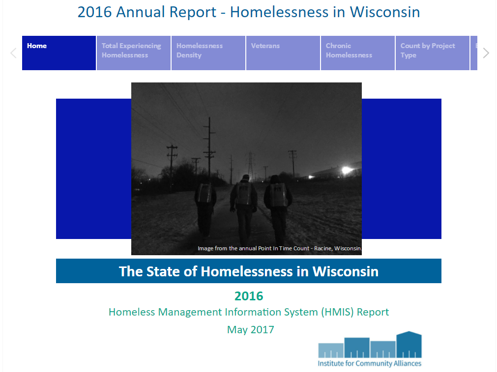 The State of Homelessness in Wisconsin, 2016 ICA Data Portal