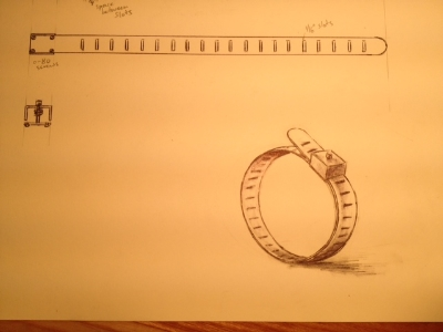 Gerardo Gonzalez's drawing of a hose clamp as an inspiration for his piece.