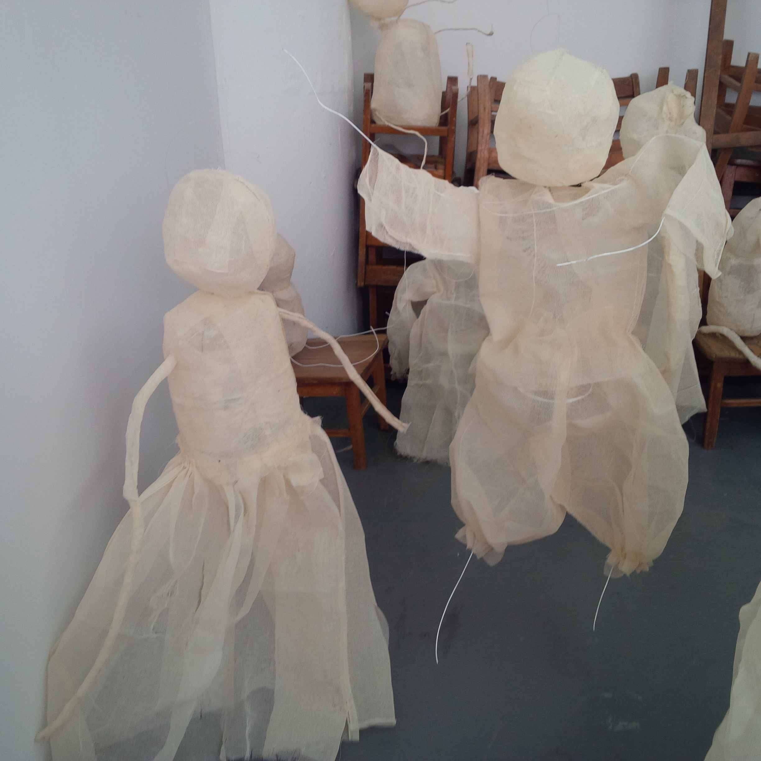 Constance's scrim and wire sculptures similar to the works she is creating for this show.