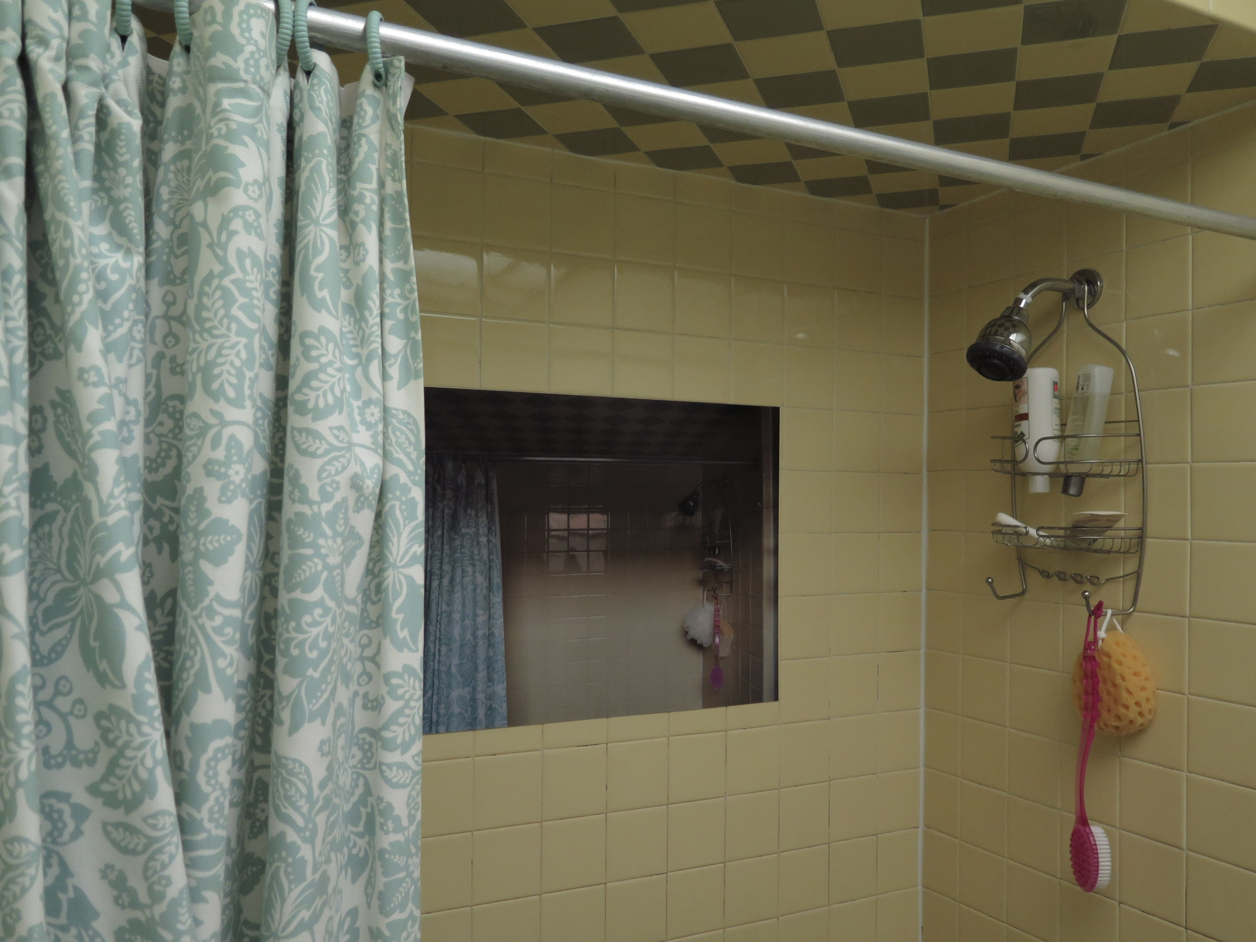 """""""Shower No. 1"""" by Laura Hinely for apARTment #1, which is the same bathroom on the other side of the wall   that featured   Beatrice Wolert's piece."""