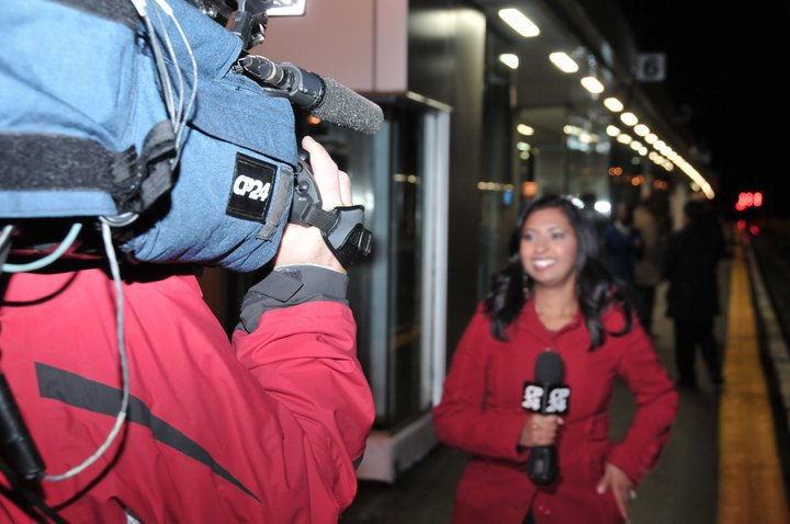 Reporting in the field for GO Transit and CP24 Breakfast