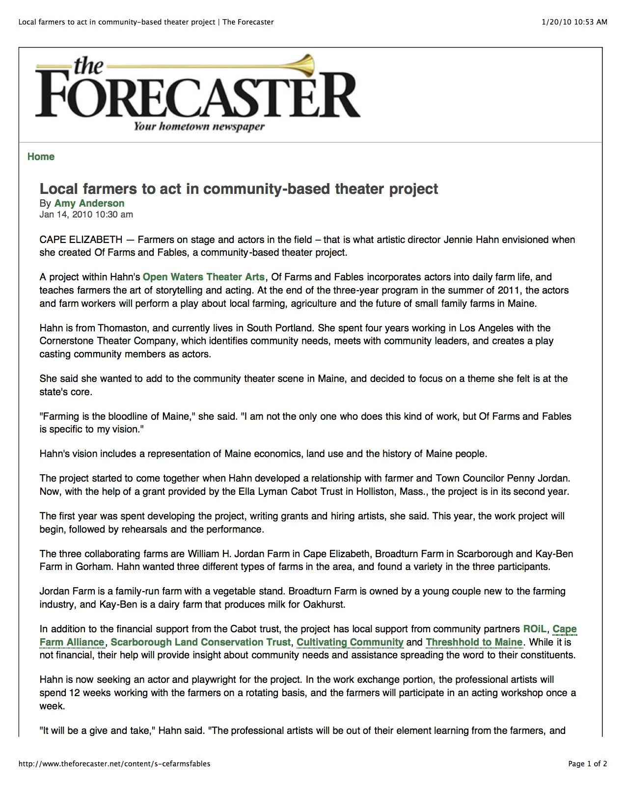 Local farmers to act in community-based theater project   The Forecaster.jpg
