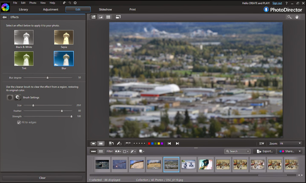 Create tilt-shift effects in PhotoDirector