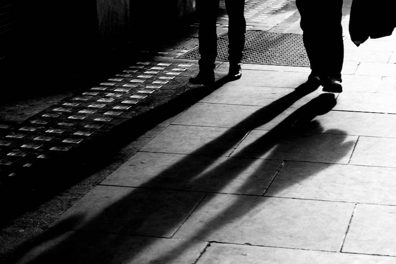 Walking home–the photo needs the all-over sharper focus to tell the story