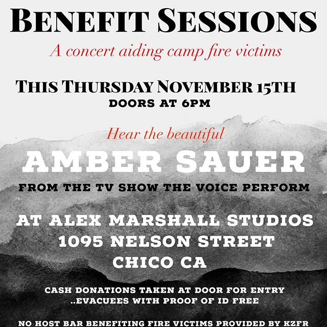 """TONIGHT!!!! """"Where words fail, music speaks"""" -Hans Christian Anderson  Our community has been through a speechless amount of devastation this week, and many of us are left asking, """"What can we do?"""" @chicosessions would like to invite you to an evening of community togetherness to give back to those who are displaced and lost everything in the #campfire  Join us this Thursday night at @alexmarshallstudios to hear @ambersauer from The Voice perform. No Host bar with proceeds going to Camp Fire Victims provided by @kzfr90.1fm Cash donation at the door. Evacuees and Fire Personnel enter free. Collected donated funds to be matched!  A chance to smile and be soothed through music during  this hard time. #buttestrong #hopeforhumanity #chicoevents"""