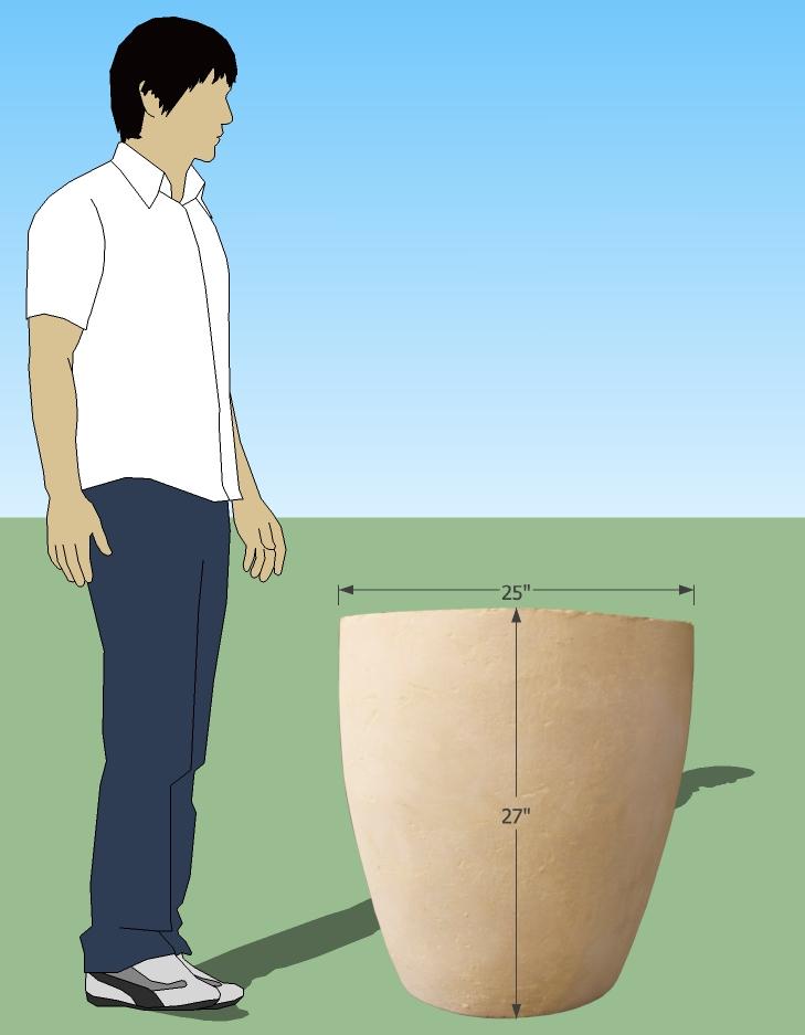 hand cast concrete pot HC|008