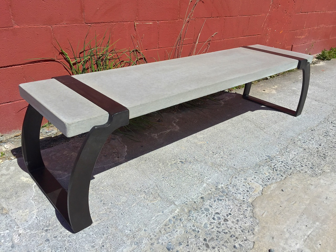 concrete and metal bench