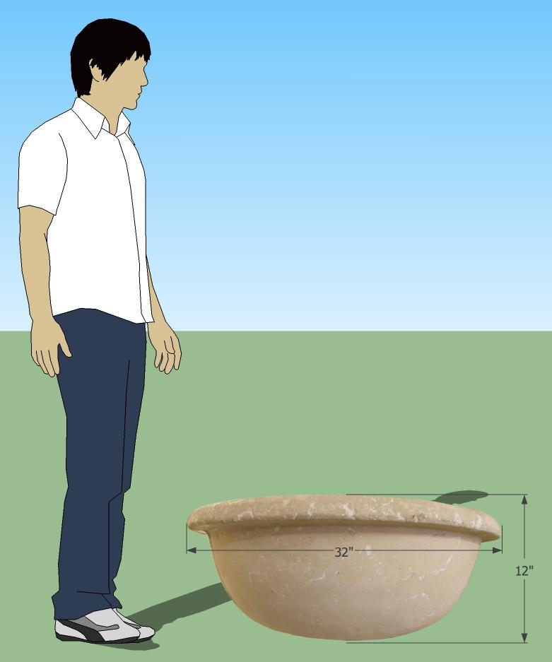 hand cast concrete bowl