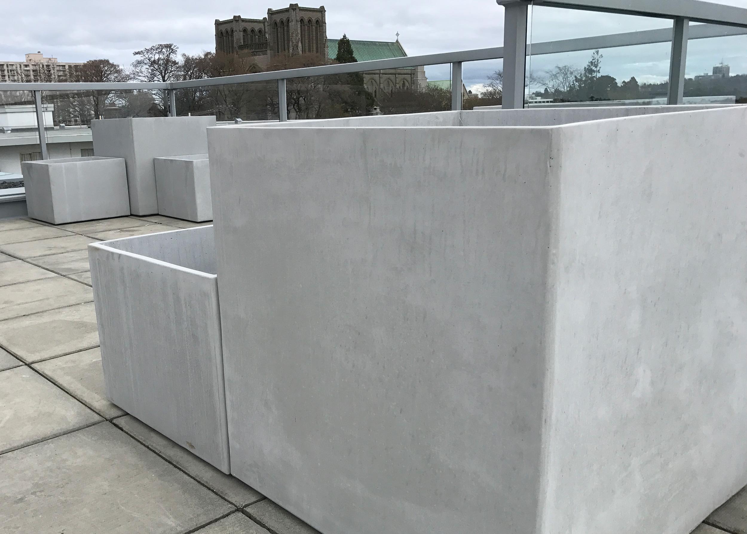 """30"""" cube concrete planter"""