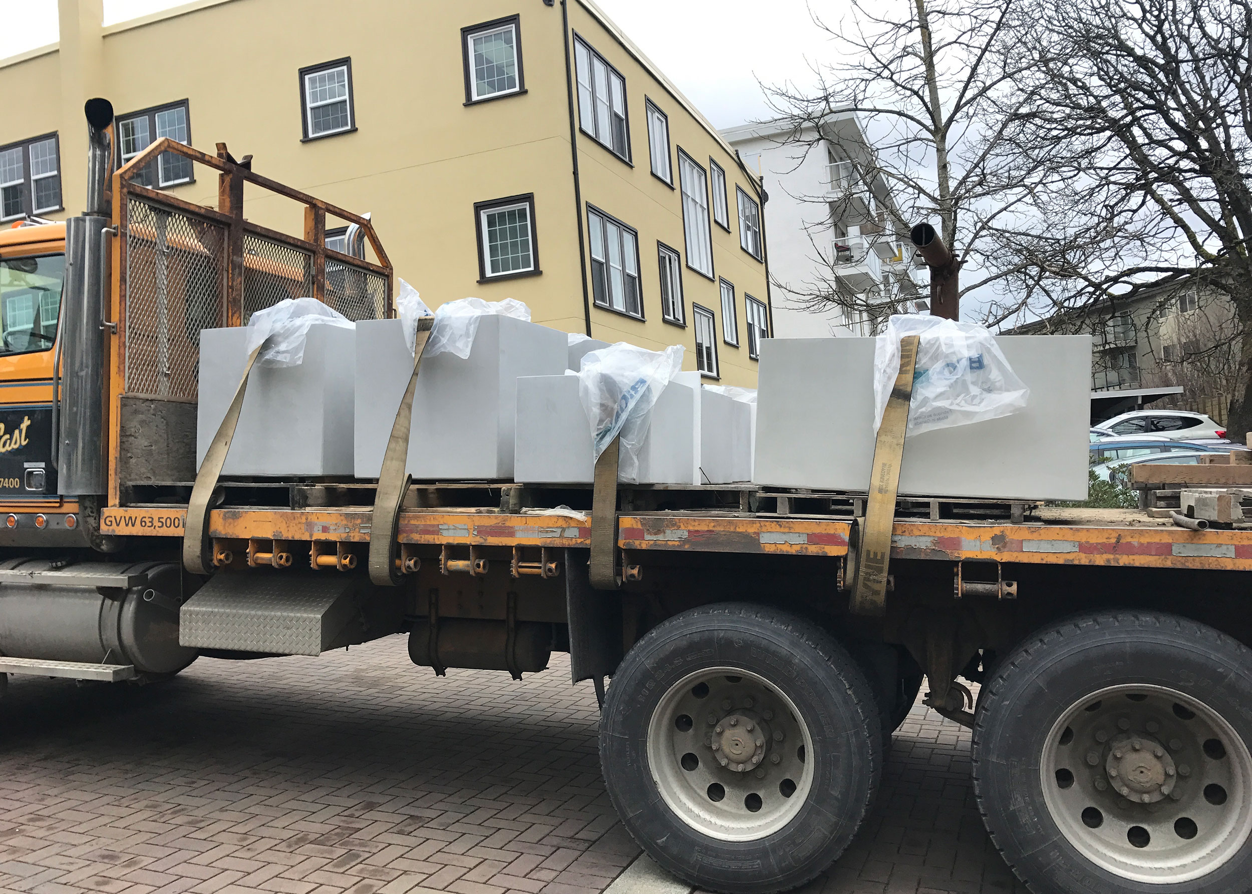 ductal planters on truck