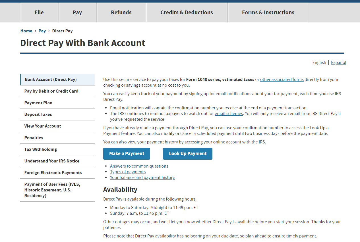"Step 1 - Head tohttps://www.irs.gov/payments/direct-payand select ""Make a Payment"""