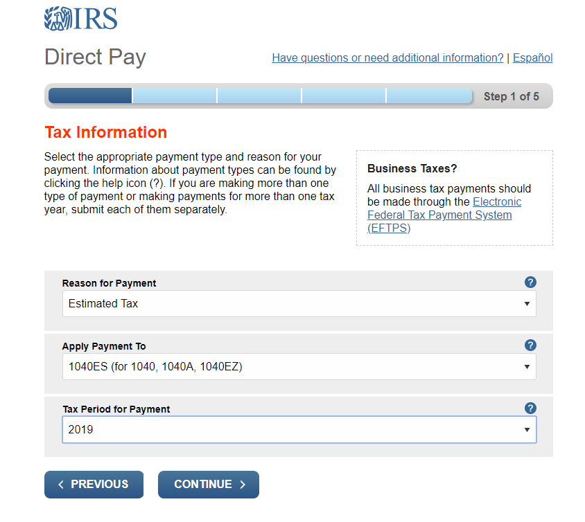 Step 2 - Indicate estimated tax payment for the year.