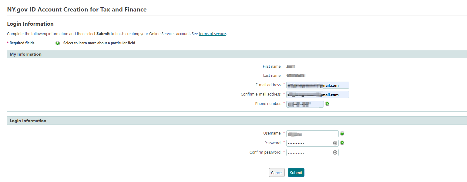 Step 3 - Create your account and set up the security questions.