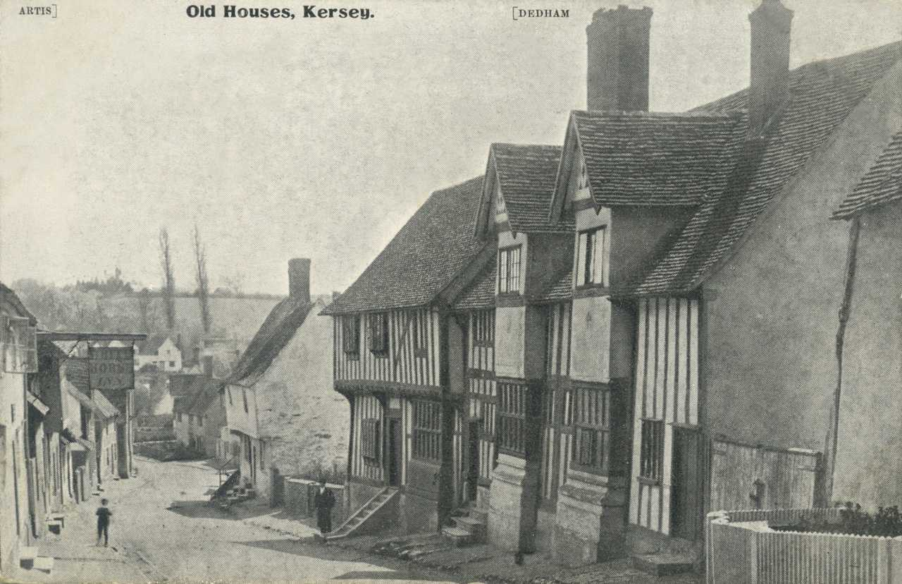 Kersey in the 1800s - Old Drift House is the white building in the distance behind the hanging sign.