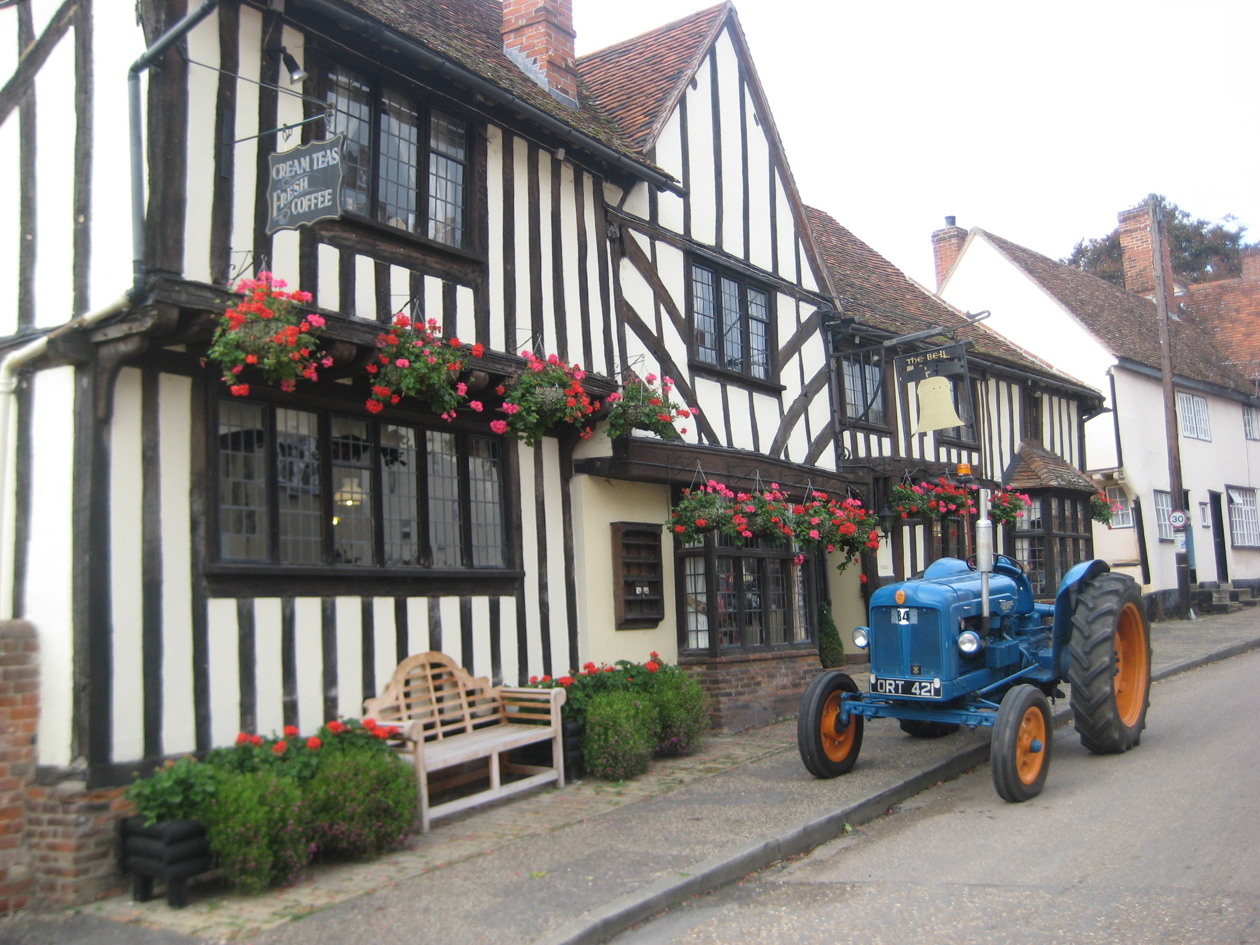 Lunch stop for a local farmer at The Bell in Kersey