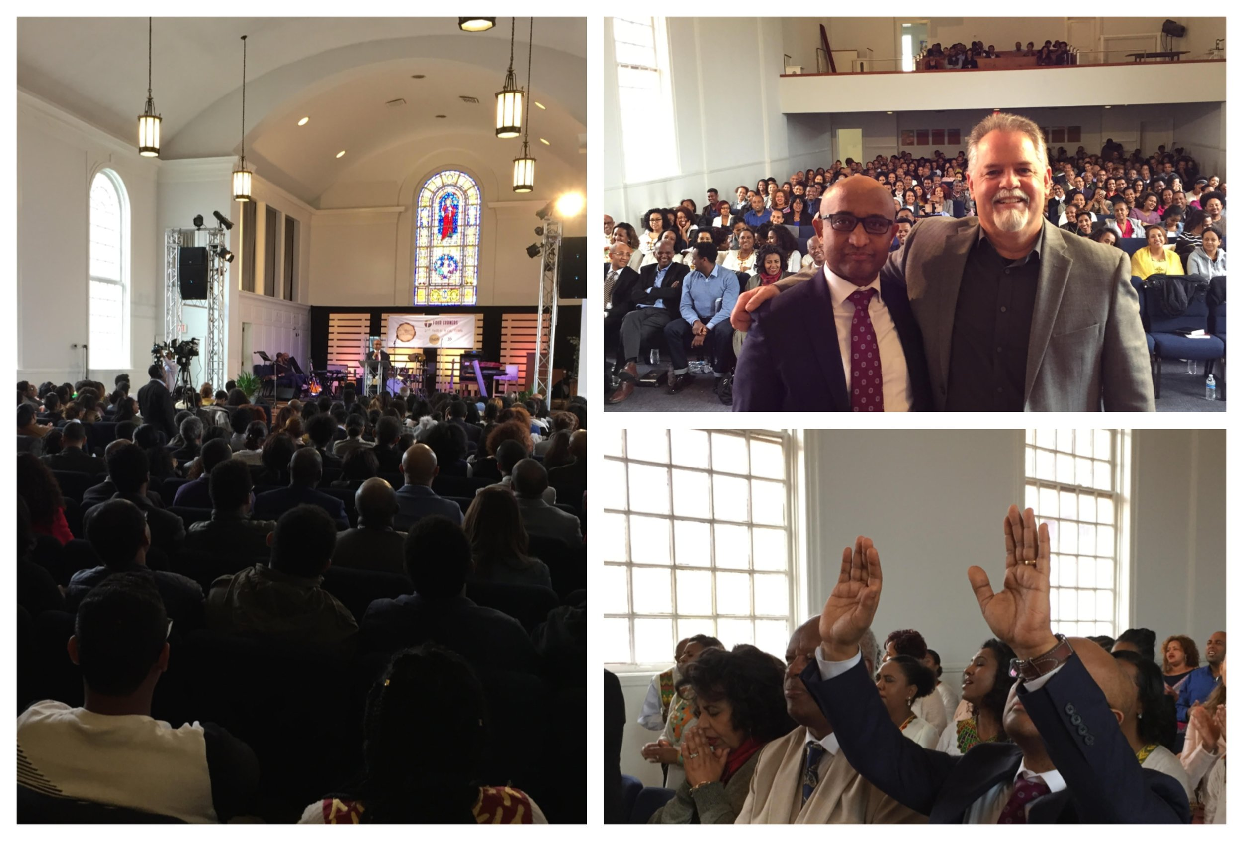 Pastor Endalk Ayo of Four Corners Evangelical Ethiopian Church and SENT Network Executive Director Mark McGeever (top right) celebrate their gospel partnership at the two-year anniversary of Four Corners EEC in Silver Spring, Maryland.