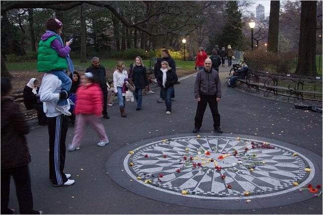 Joe Raiola, organizer of an annual fund-raiser commemorating John Lennon's death, at Strawberry Fields in Central Park. Photo: John Marshall Mantel