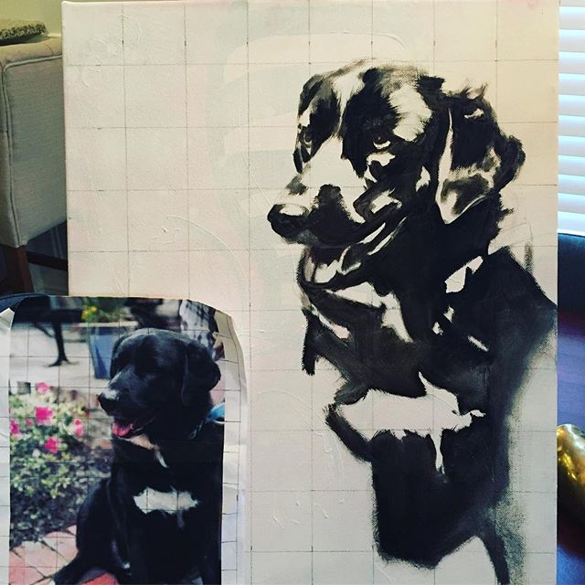 """The starts of this sweet pup named Ozzie! Using a grid process to capture some smaller details I tend to """"brush"""" over - literally :) Uber excited about this one because Ozzie is the sweetest dog I've ever met! Also, I've been boring on here cause @allaprimaparties is taking over my life and I LOVE it! Much needed commission piece though."""