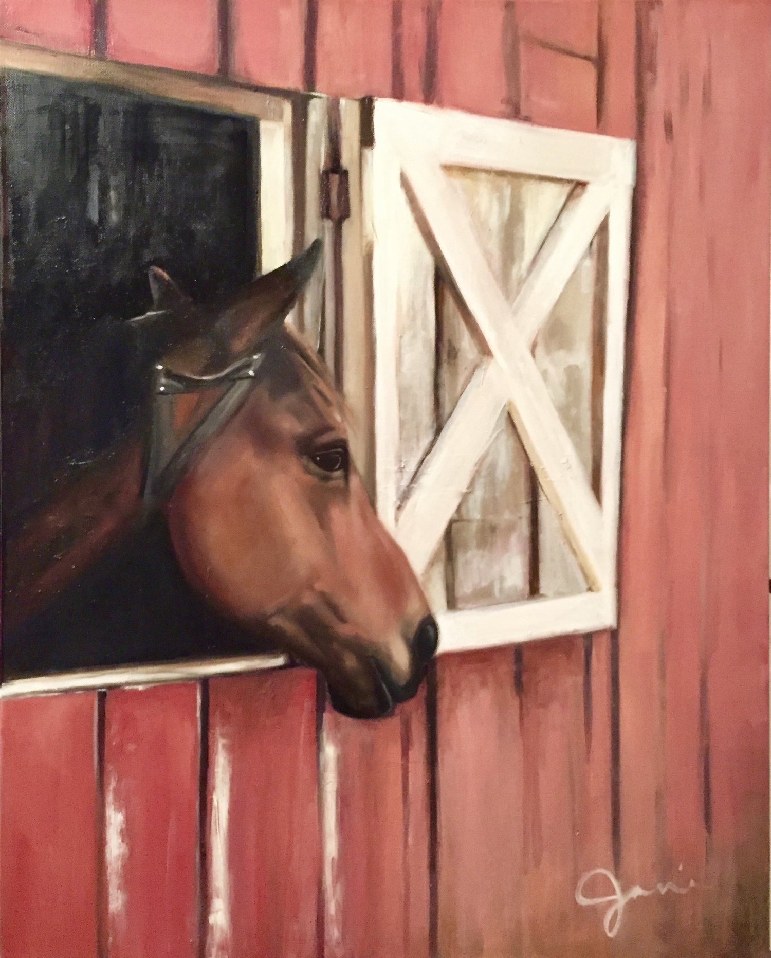 Horse & Barn - SOLD - 24 x 36 | oil on canvasA horse residing at the beautiful barns of Blackberry Farm in Walland, Tennessee.