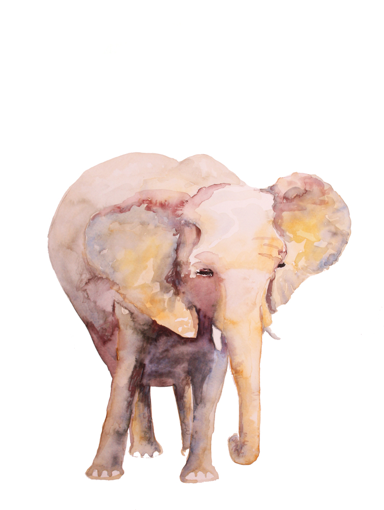 Baby Room Elephant - SOLD - Prints Available - 24 x 36 | watercolor