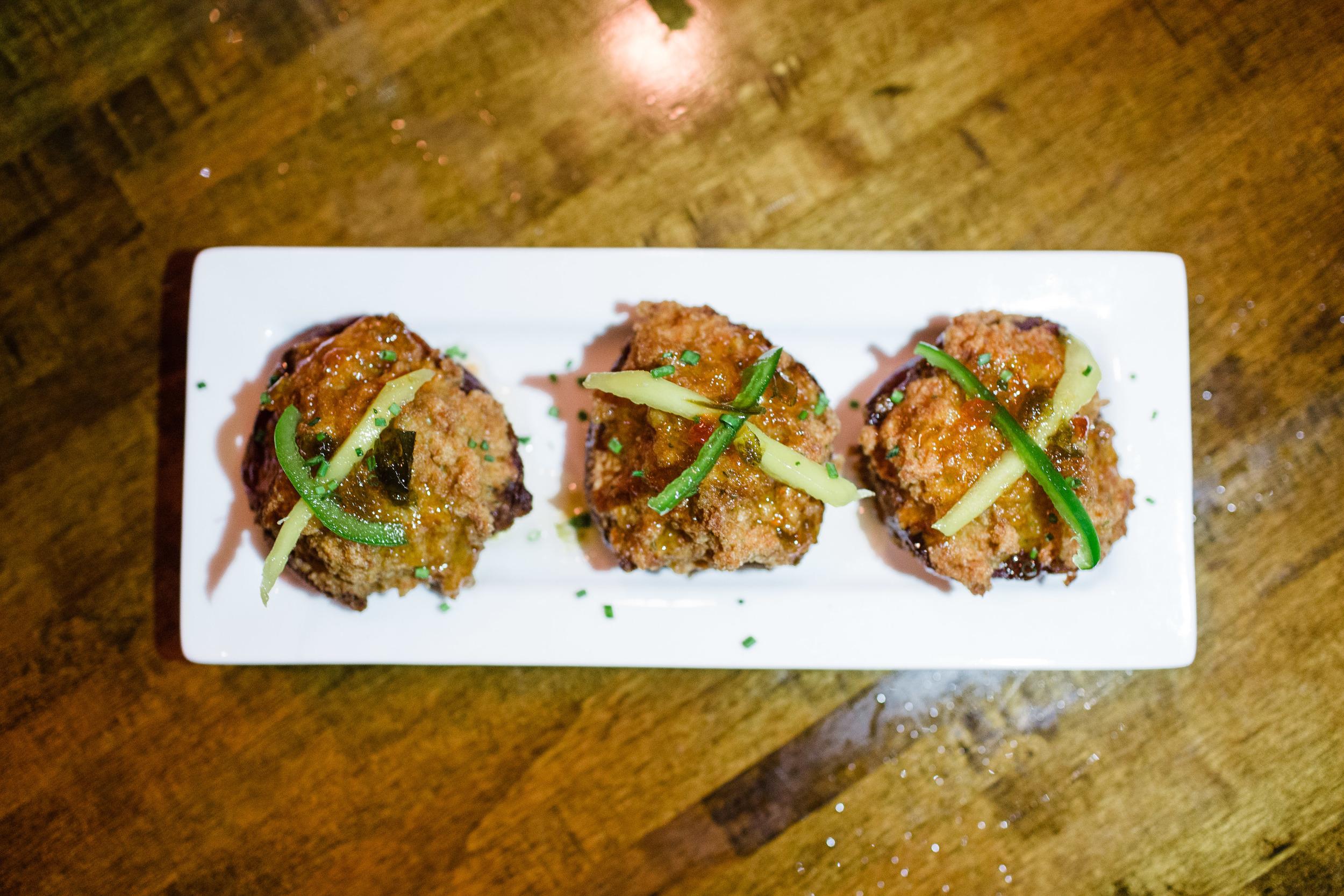 NC brioche shrimp toast, southern pepper jelly + pickled mango