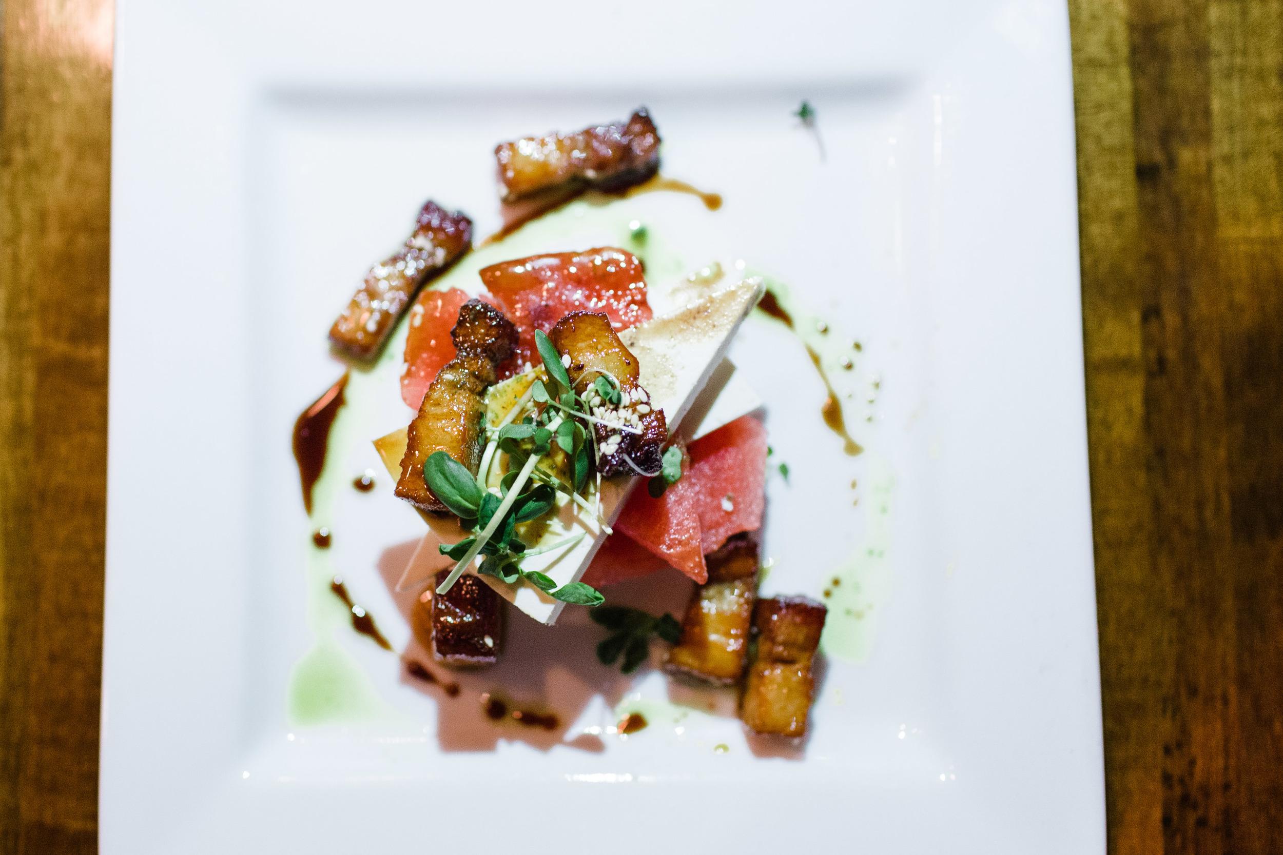 sorghum glazed pork belly, bogue sound watermelon, ricotta salata + lime