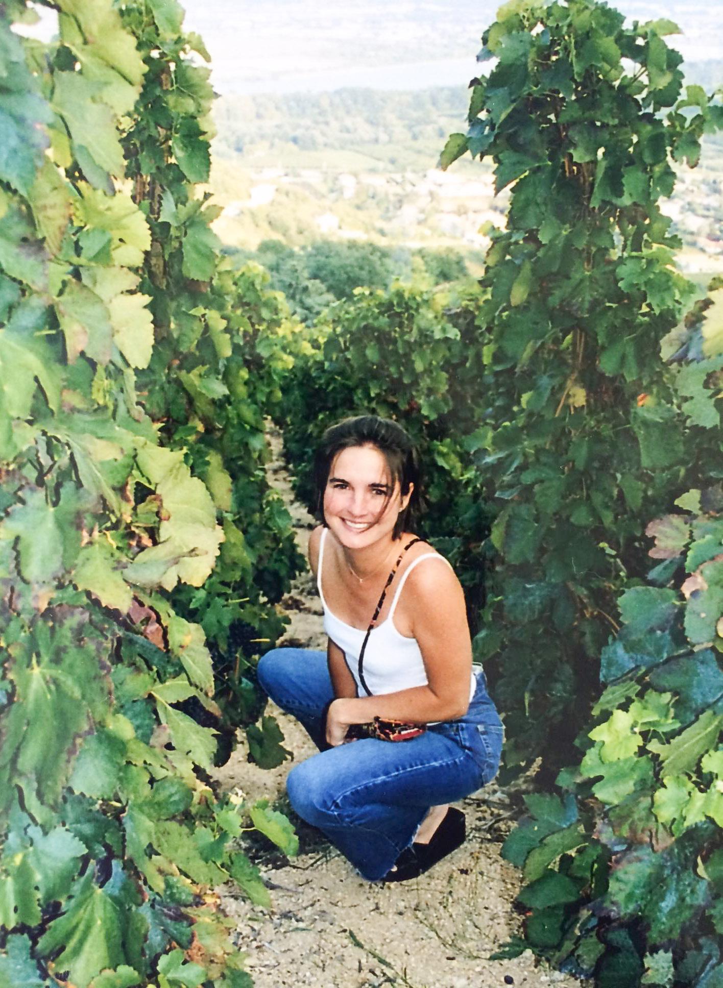 Inez at a vineyard in Condrieu, France
