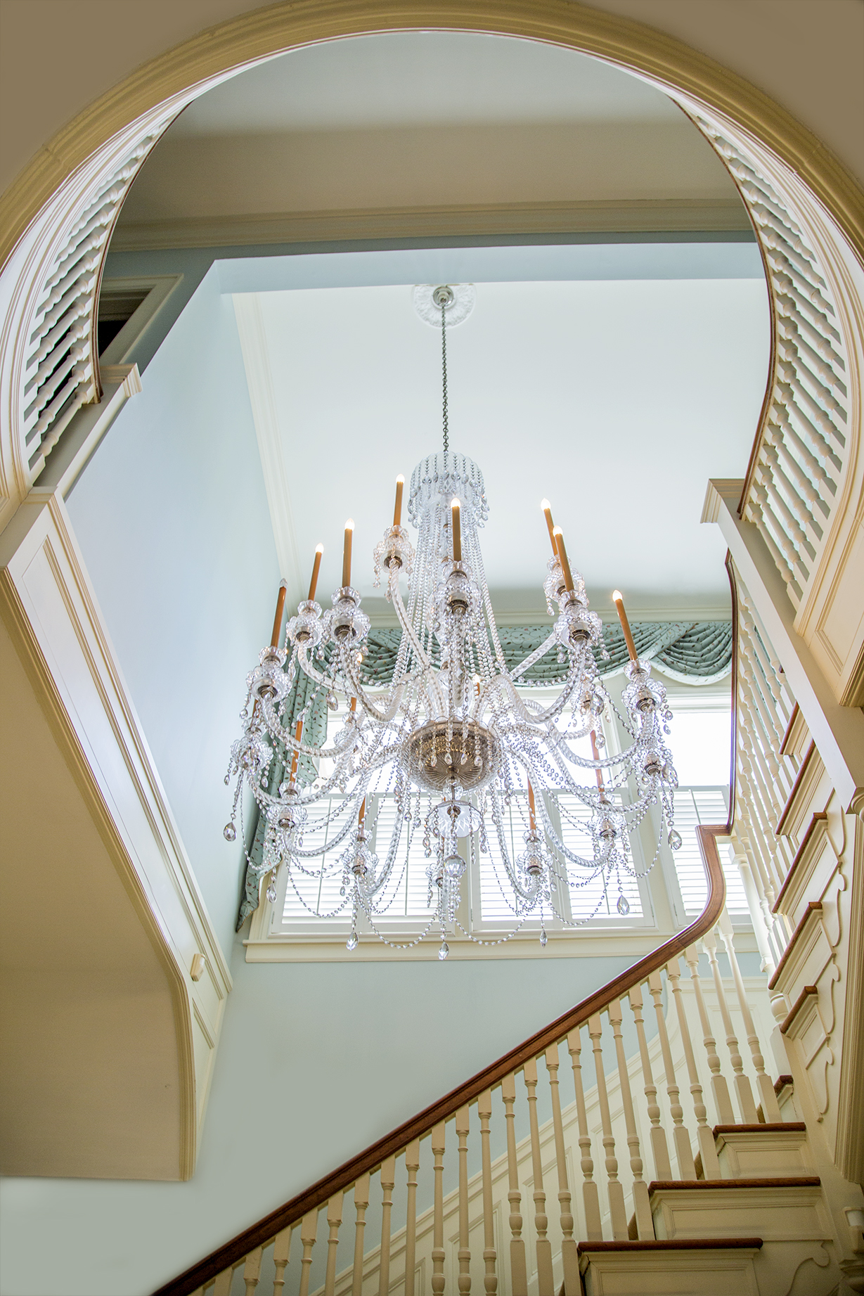 According to Mrs. Susan Ross, wife of UNC System President Tom Ross,the first chandelier was broken while being lowered for cleaning.