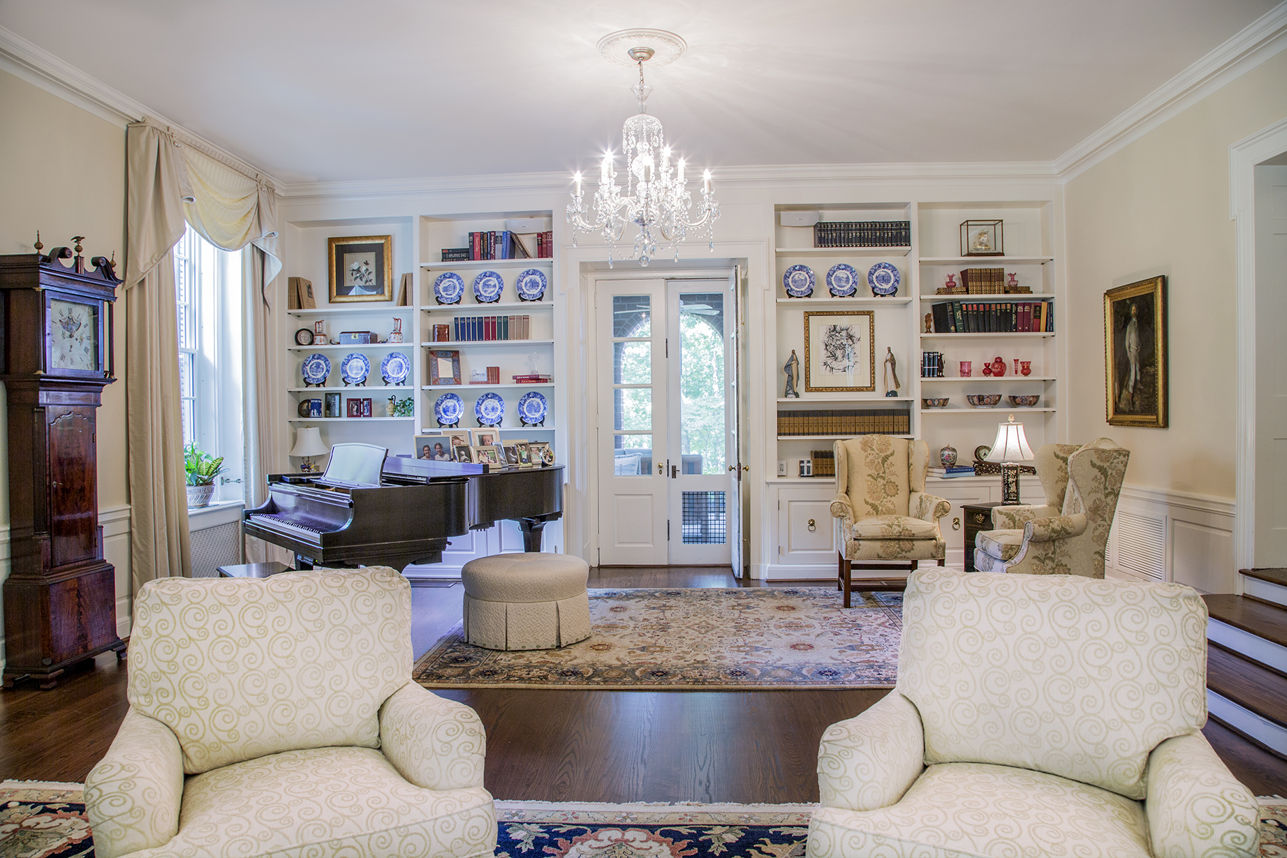 The living room's chandelier once hung in the first President's house on the Reynolda Campus, built in the 1950s.