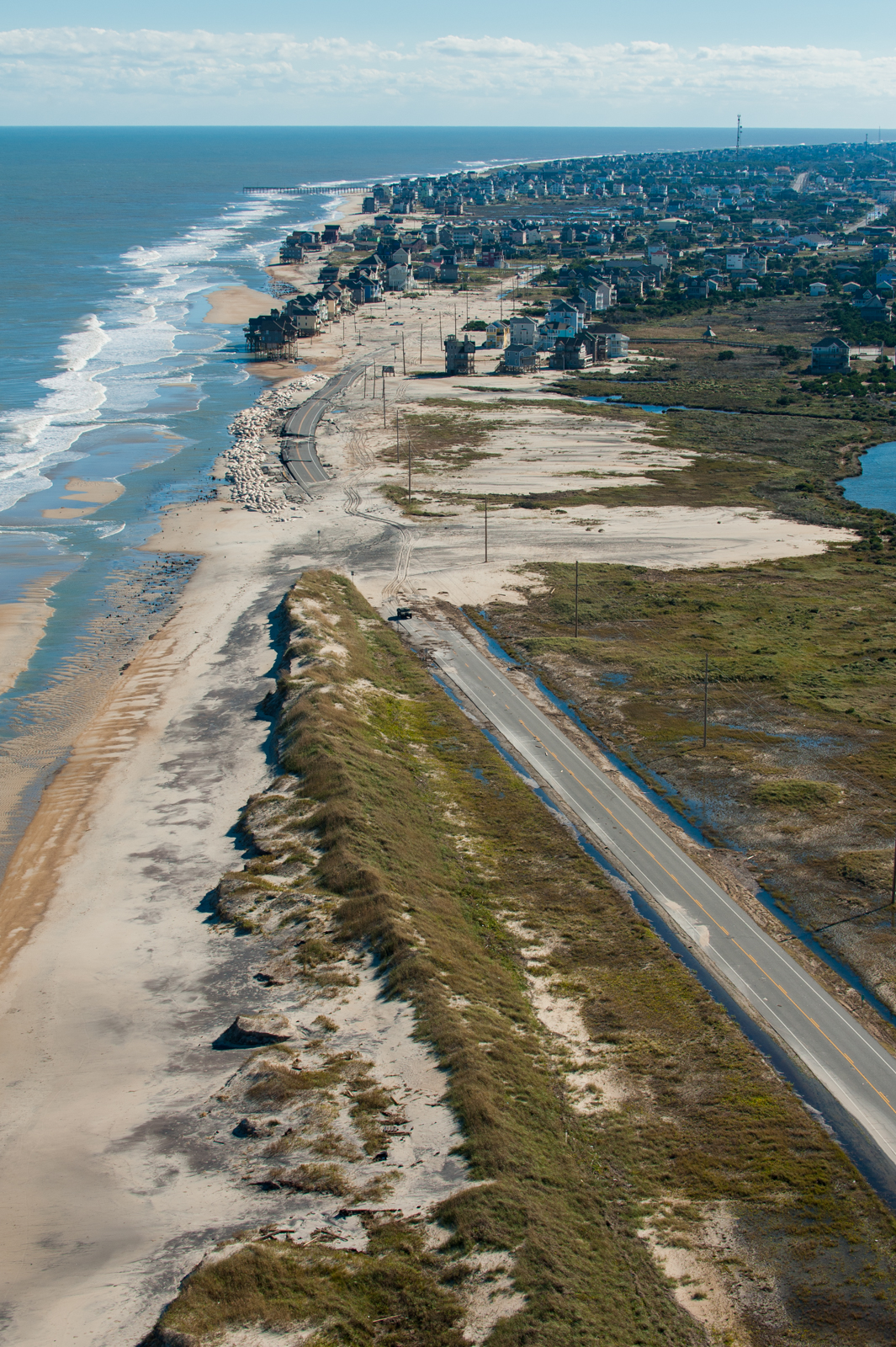 Aerial shot of Mirlo Beach looking South towards Roadanthe after Hurricane Sandy in 2012.