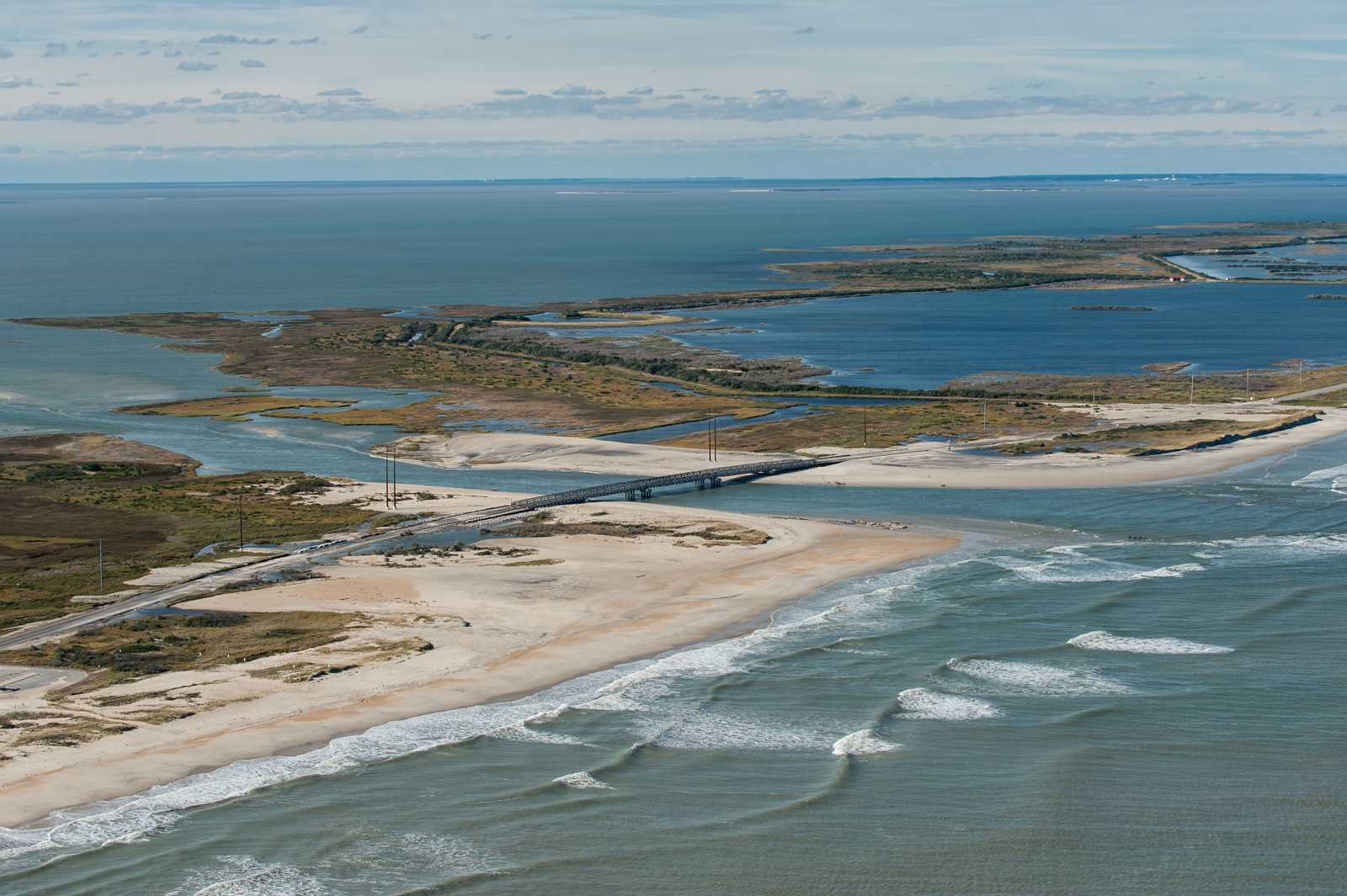 The New Inlet, between the Tri-Villages and Pea Island, cut off Rodanthe from the mainland after Hurricane Irene in 2011. Since, a temporary bridge has been installed. It's pictured here after Hurricane Sandy in 2012.