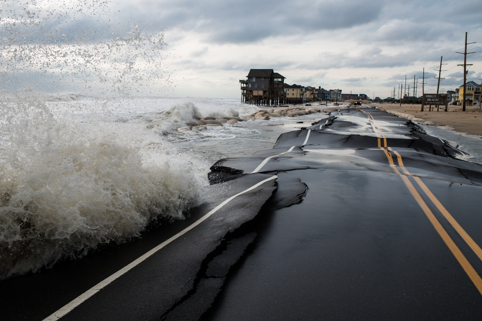It doesn't necessarily take a hurricane to wash away the road on Hatteras Island. Mirlo Beach is pictured here, during a Nor'easter in December 2014.