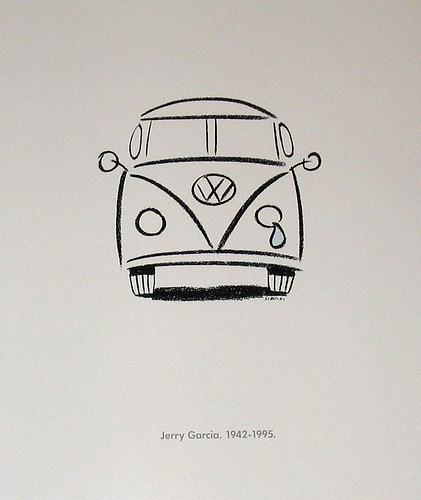 The counterculture movement embraced the VW bus as its car and its icon, and Volkswagen embraced this position. In 1995 the company released this advertisement in honor of Jerry Garcia of the Grateful Dead.
