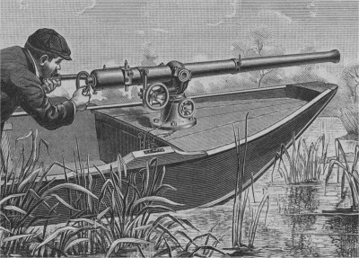 Huge guns — cannon, really — were mounted on the bows of punt boats. One well-aimed shot could bring down hundreds of egrets, pelicans and other birds, whose plumage then decorated women's hats. Photo: N.C. Division of Archives and History