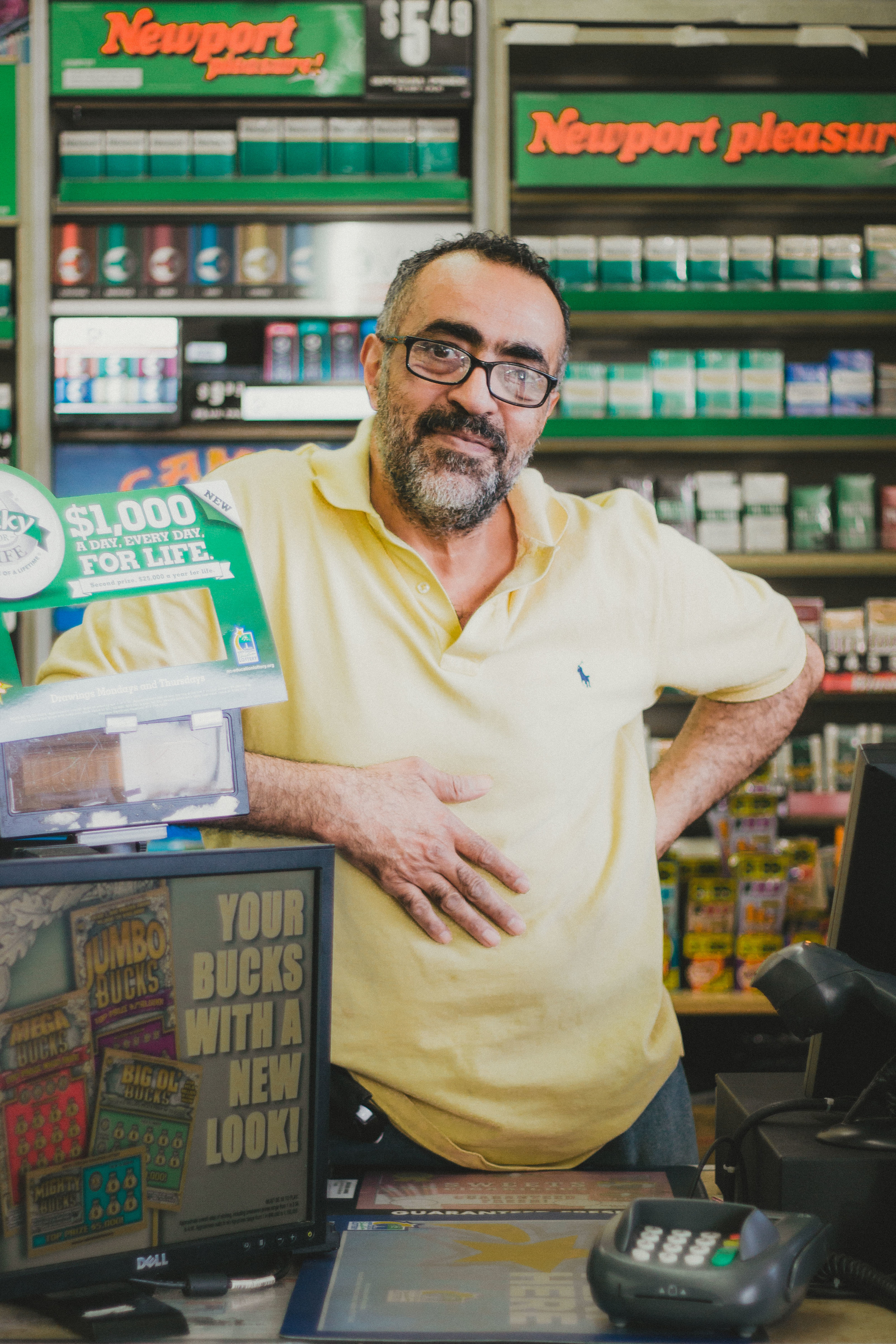 """Alaadin El Hamalawi works at University Market seven days a week. """"Here in this country, you are yourself. You can live rich rich; you can live poor poor. But don't blame nobody. Blame yourself, because you have the chance to do anything. I work 16 or 17 hours every day because I want to prove to myself, to my daughter I can live the way I want."""""""