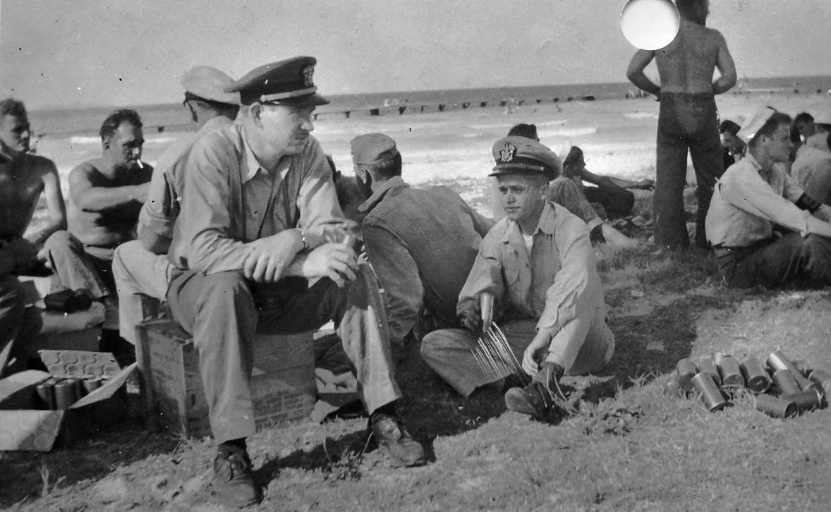Robert Morgan (on the beach) circa 1946
