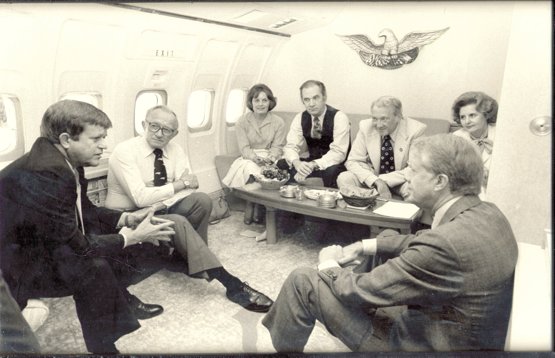Robert Morgan with President Jimmy Carter and company on Air FOrce One