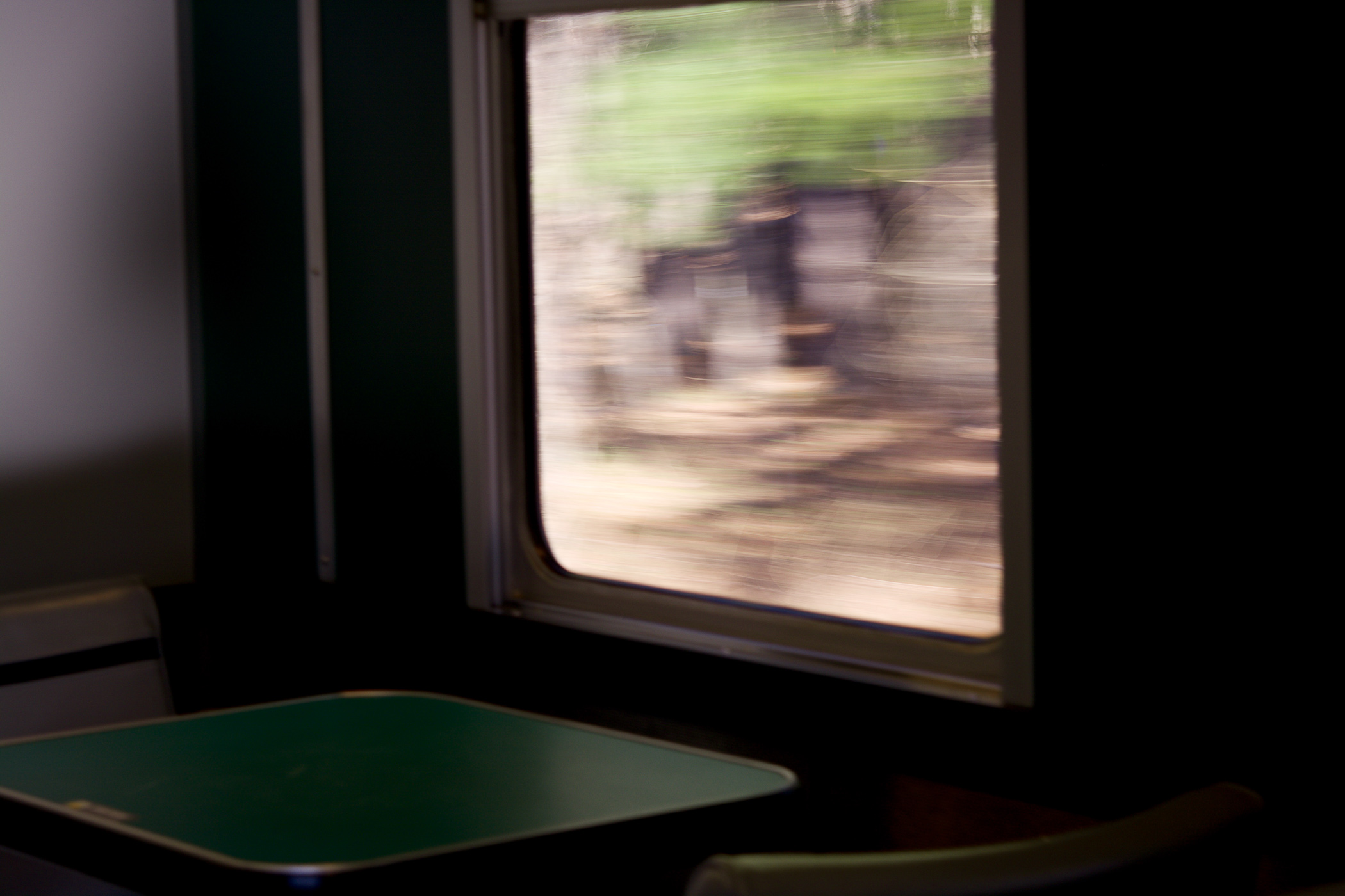Cafe window from moving train.