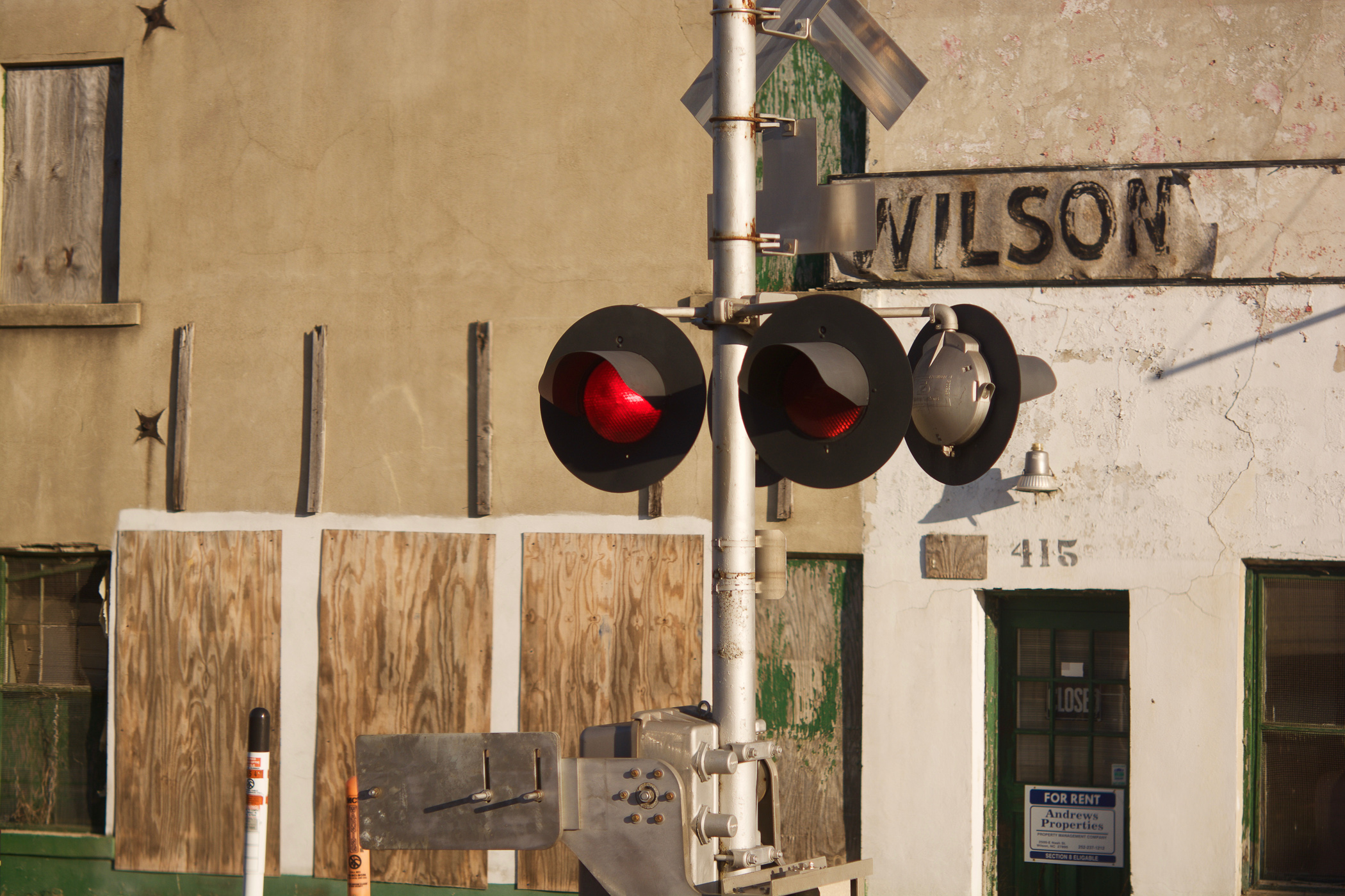Signal lights from Northbound train approaching Wilson, NC, station.