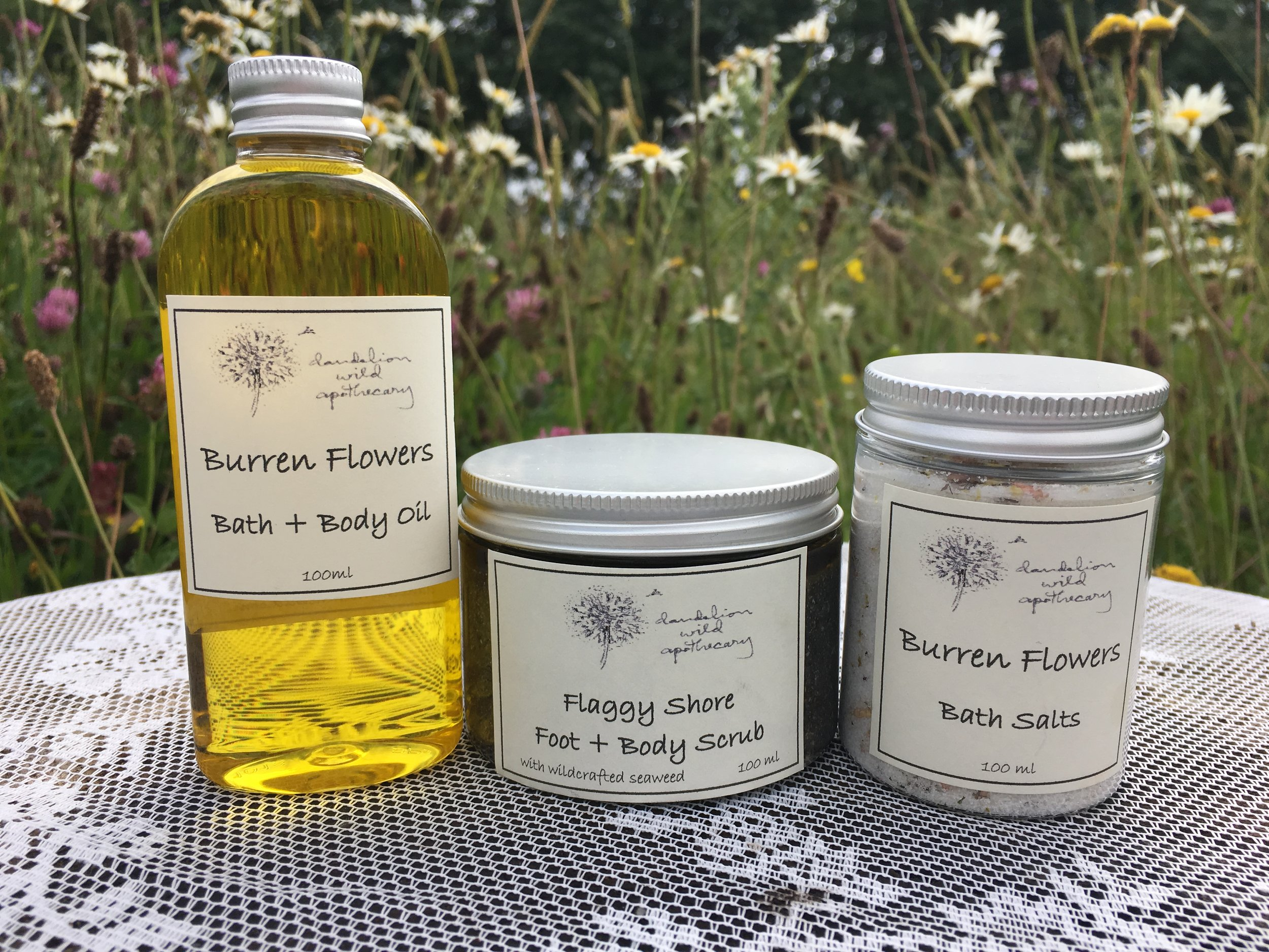 -   Burren Flowers Body Oil: infused with wild herbs and ethically harvested flowers of the Burren hedgerows and meadows.                                                     Flaggy Shore Foot Scrub: with sand and seaweed collected from that breathtaking shore along the Wild Atlantic Way.                                                       Burren Flowers Bath Salts: infused with the wild herbs and ethically harvested flowers of the Buren hedgerows and meadows