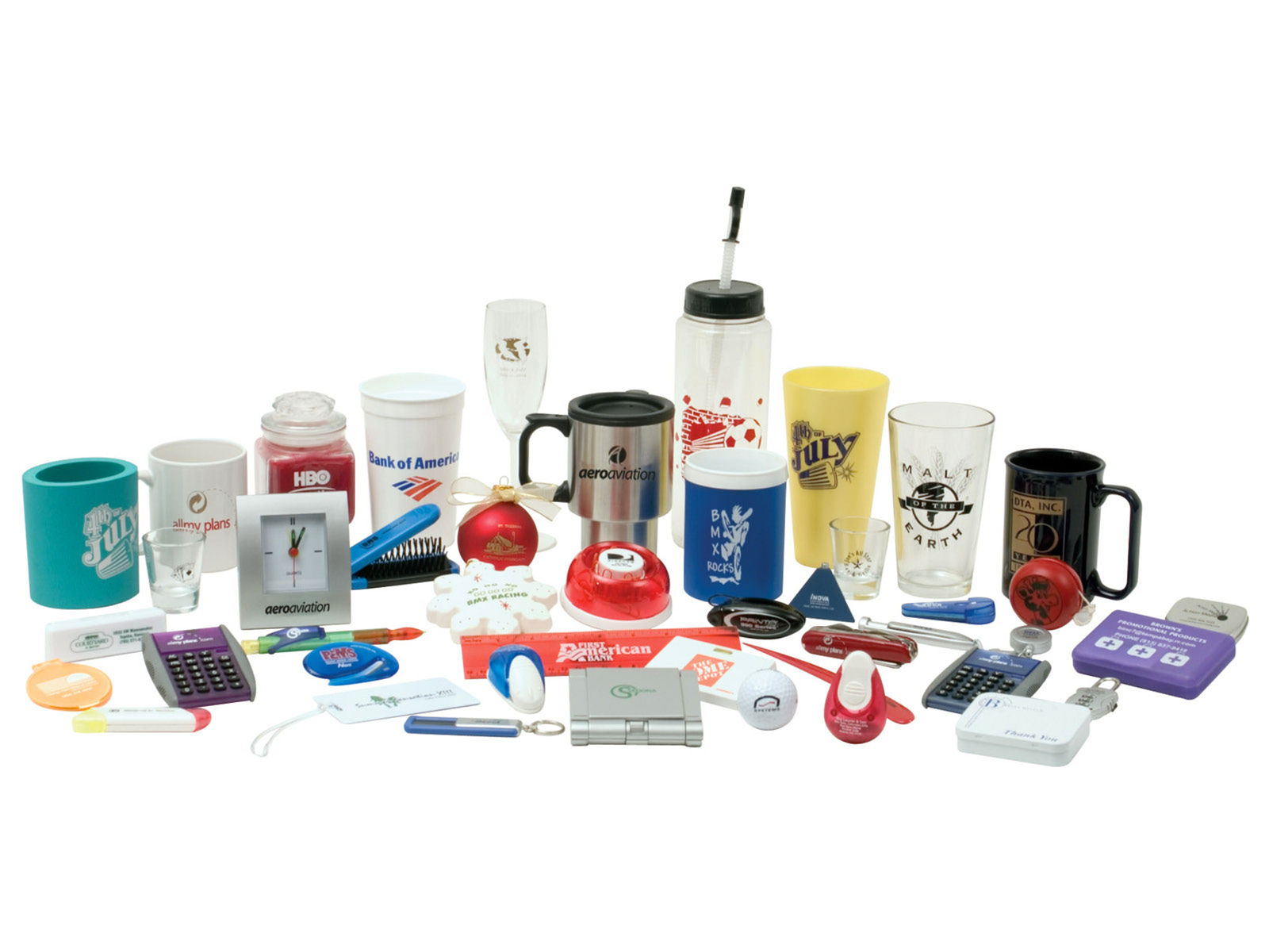 PROMOTIONAL PRODUCTS - Promotional products are a cost efficient way of marketing your company to an extremely large audience while doing minimal work. Branded promotional items are great for offices, trade shows, giveaways, events, party favors, or gifts. If you are new to the idea of promotional items for your company, give us a call and we will show you how they can benefit you!CLICK HERE TO LEARN MORE