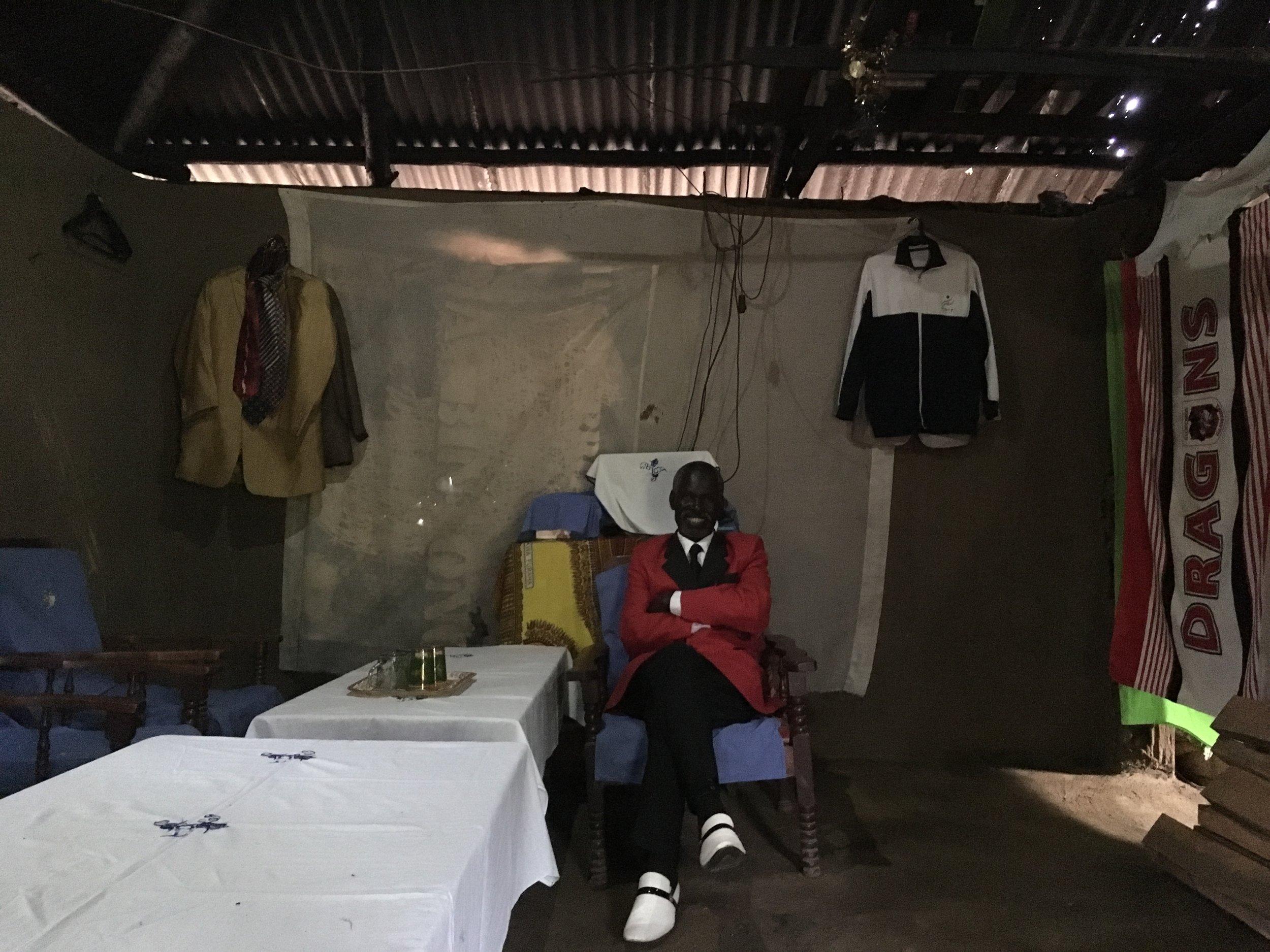 Sukuma with a small part of his wardrobe