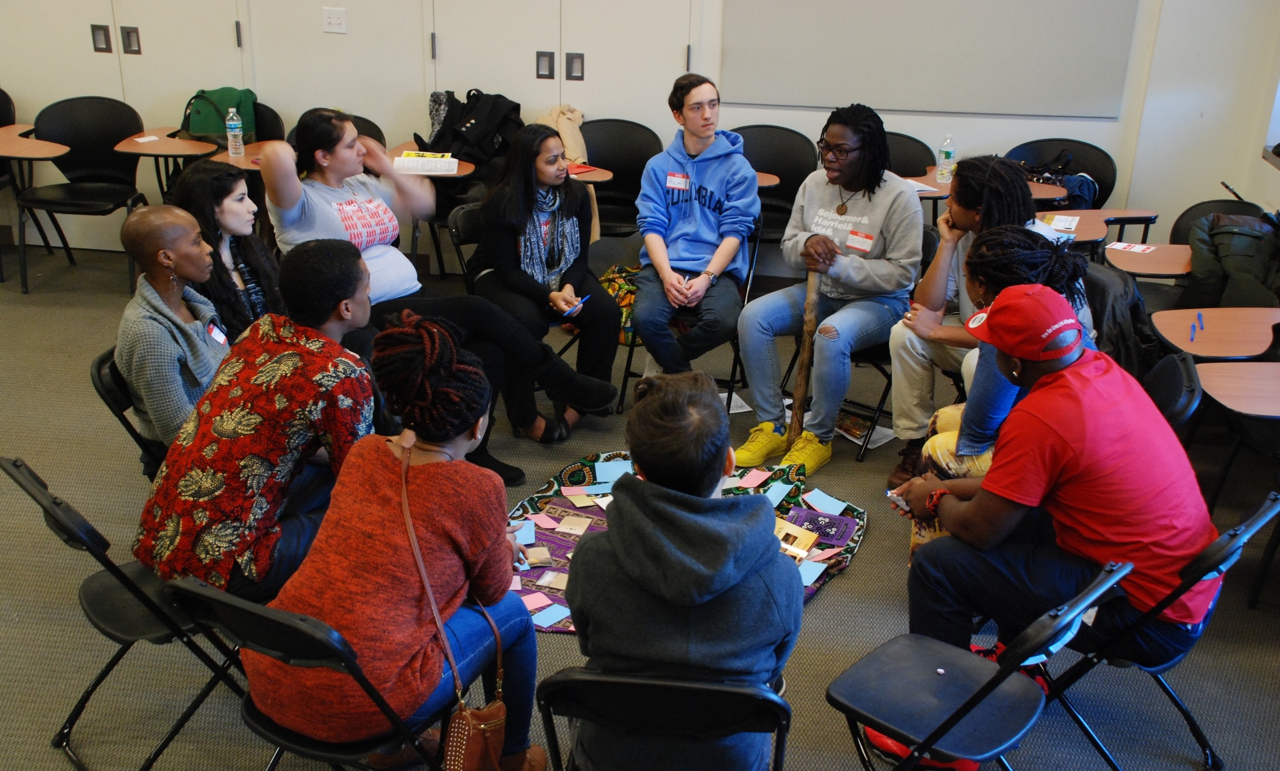 Ashley Ellis facilitates a peacemaking circle at Columbia School of Social Work's 2016 Beyond the Bars conference.