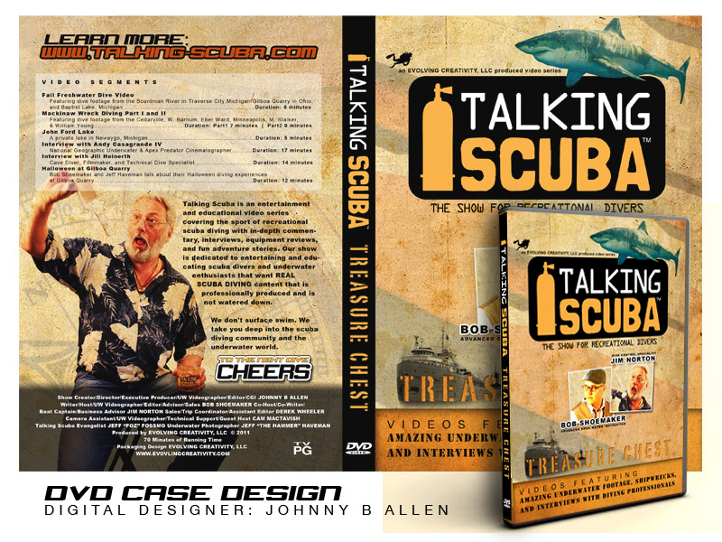 DVD case insert for Talking Scuba & Outdoor Adventures featuring videos from the netcast series