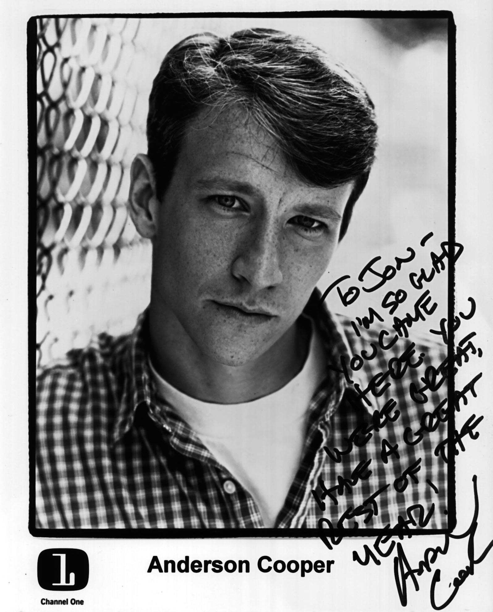 Signed 1995 Autograph from Anderson Cooper - To Jon. I'm so glad you came here. You were great and have a great rest of the year! Anderson Cooper.