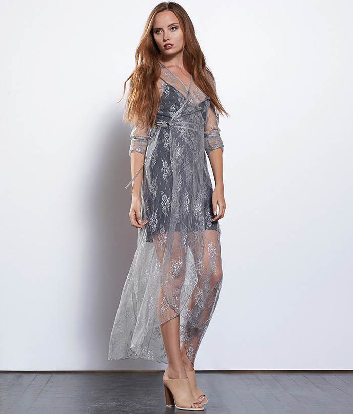 Not all layers have to be bulky. This silver lace dress by Style Saint is delicate and memorable.   Cost: $138 USD
