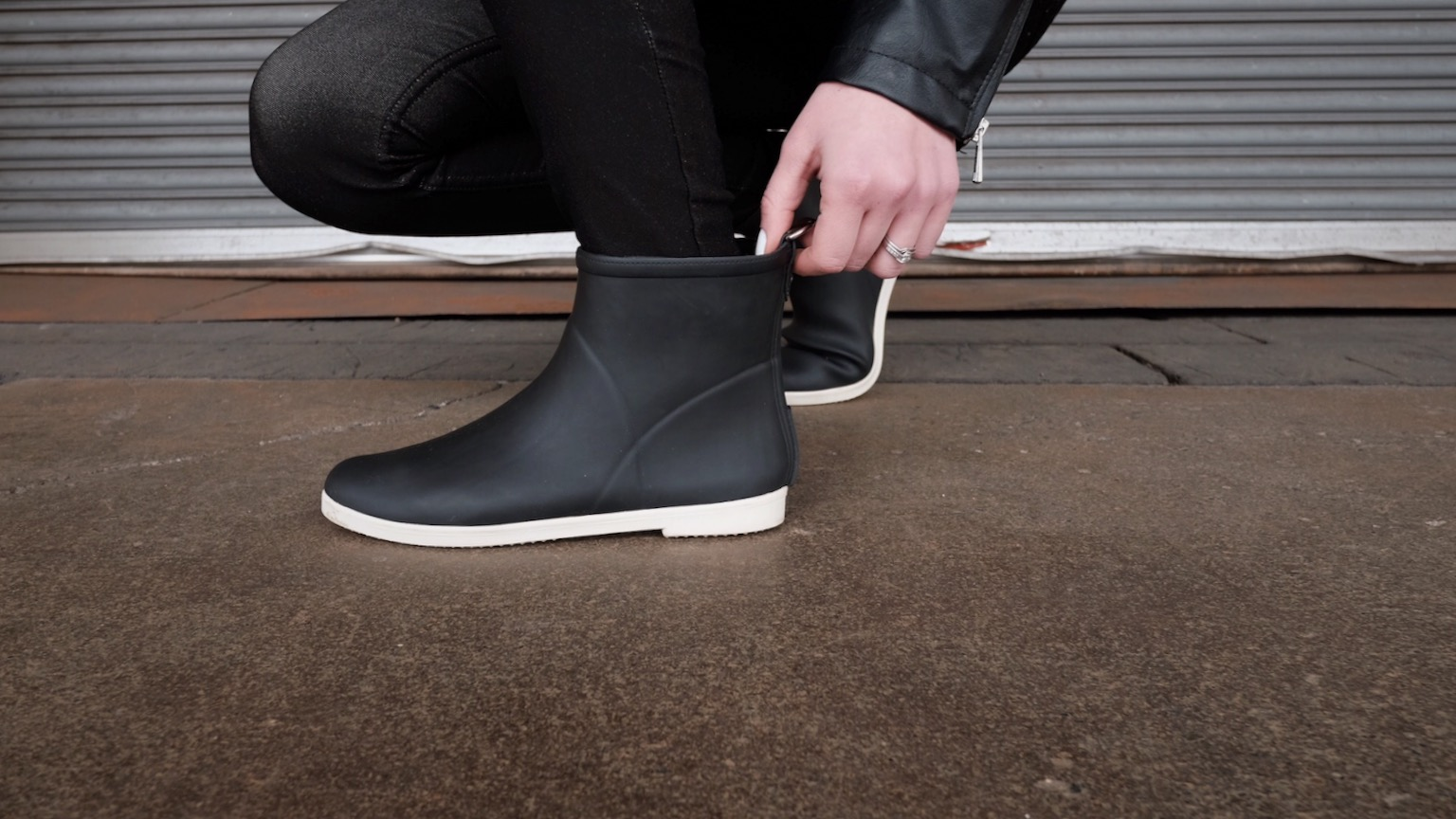 black stylish rain boot outfit (ethical)