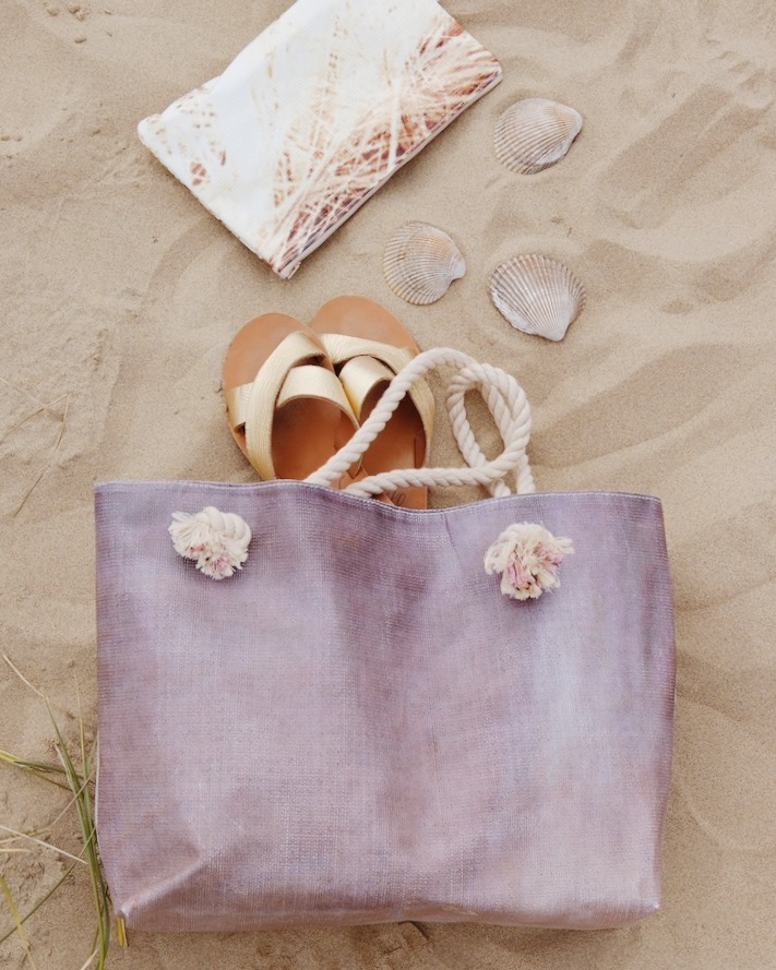 upcycled beach tote