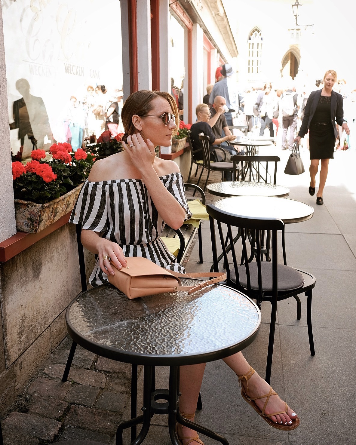 ethical off the shoulder striped dress